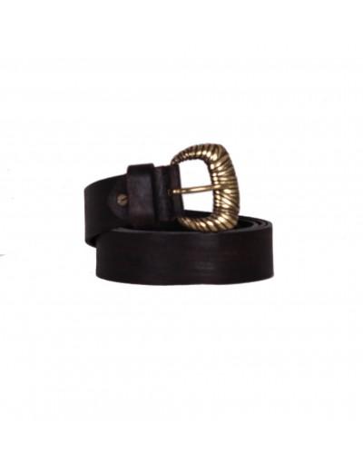 Cintura in pelle - nero vintage - fibbia a conchiglia