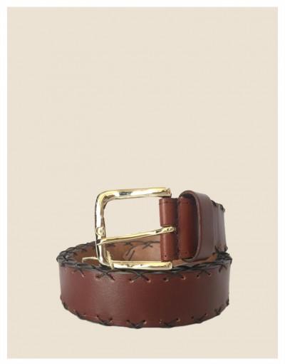 Cintura in pelle marrone impunturata a mano con fibbia oro